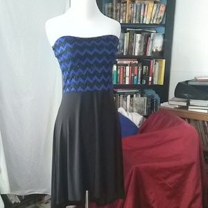 Gorgeous royal blue, black Chevron dress, sz small